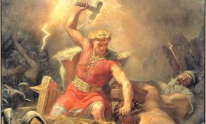 Detalle de Thor en la batalla contra los gigantes, óleo pintado en 1872 por Mårten Eskil Winge, (1825-1896). Museo Nacional de Estocolmo, Suecia. (Public Domain)