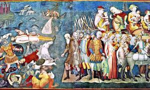 Portada-El Faraón y su ejército perecen ahogados al intentar cruzar el Mar Rojo, según se recoge en el Antiguo Testamento. Obra de Bartolo di Fredi. (Wikimedia Commons)