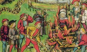 Portada - Detalle de una escena de ejecución incluida en la Crónica de Lucerna (1513) en la que se ilustra la quema en la hoguera de una mujer en Willisau (Suiza), en el año 1447 (Public Domain)