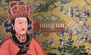 Portada-Composición: retrato de Wu Zetian en primer plano (CC BY 2.0), al fondo, famosa obra de arte en la que se representa la impresionante procesión del emperador de China Xuande en su visita a las tumbas de los emperadores de la dinastía Ming. (Public Domain)