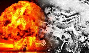Portada - Fotomontaje con una explosión nuclear y parte de los esqueletos encontrados en Mohenjo-Daro (La Gran Época)