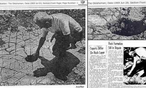 Portada - Fotocomposición con algunas fotografías del misterioso suelo hallado en 1969 en Oklahoma. (Código Oculto).