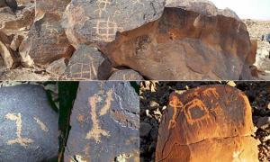 Portada - Arriba, petroglifo con múltiples símbolos en el monte Karkom, Israel. (CC BY-SA 4.0). Abajo a la izquierda: ejemplos de nombres de Dios hallados por Yehuda Rotblum en el arte rupestre del Néguev. (Imagen: © 2016 Yehuda Rotblum). Abajo a la derecha: cazando una cabra montesa; monte Karkom, Néguev, Israel. (CC BY-SA 3.0)