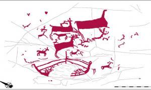 Portada-En la parte inferior de este dibujo del grabado rupestre de Auga dos Cebros podemos observar el barco con su mástil y los trazos perpendiculares que posiblemente representen bancos para remeros. (Dibujo realizado por Dig Ventures)