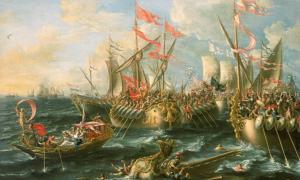 Portada - 'La batalla de Actium, 2 de septiembre del 31 a. C.', óleo de Laureys a Castro