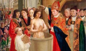 Portada-San Remigio bautiza a Clodoveo, óleo del Maestro de Saint Giles pintado en torno al año 1500. (Public Domain).