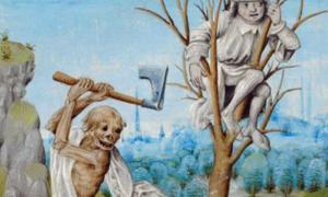 Portada - Sin escapatoria... Detalle de una miniatura denominada 'La Muerte talando un árbol' – Biblioteca Británica, Royal 15 D V f. 36. Jehan Froissart. Holanda, último cuarto del siglo XV. (The Public Domain Review)
