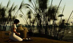 Portada - Representación artística de una muchacha del antiguo Egipto arrodillada a orillas del río Nilo (Ann Wuyts/ CC BY 2.0 )
