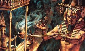Portada - Representación artística imaginaria en la que podemos observar a un faraón quemando hierbas (posiblemente de cannabis o loto azul) en el transcurso de un ritual. (Core Spirit)