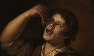 """Portada - Detalle de """"Hombre comiendo fideos"""" (1656), óleo de Jan Vermeer van Utrecht. Fuente: Dominio público"""