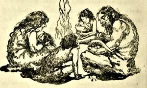 Portada - Dibujo de una familia de cavernícolas comiendo en torno al fuego. Imagen meramente representativa. (Public Domain)