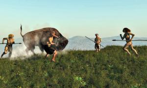 Portada-Antiguos cazadores europeos enfrentándose a un Uro (bisonte europeo) (SINC/Fotolia)