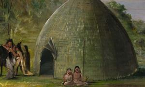 Portada - Tienda Wichita techada con hierba de la pradera (1834-1835), George Catlin. (Museo Smithsoniano de Arte Americano)
