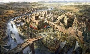Portada - Ilustración de una antigua ciudad mesopotámica. (Jeff Brown Graphics)