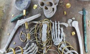 Portada - Esqueleto prehistórico enterrado adornado con productos de aleaciones de cobre. (Imagen: E. Pernicka)