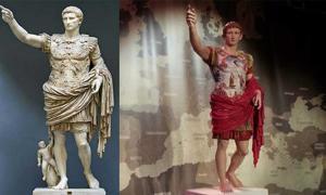 Portada - Esta estatua estaba originalmente pintada. Derecha, réplica pintada del Augusto de Prima Porta con pigmentos recreados para el festival Tarraco Viva 2014(CC BY-SA 3.0). Izquierda: Estatua original de mármol blanco, siglo I d. C. (CC BY-SA 3.0)