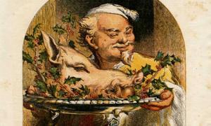 Portada - 'Sirviendo la cabeza de jabalí', ilustración del suplemento de Navidad del año 1855 de la revista Illustrated London News (Public Domain)