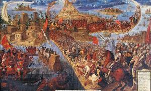 """Portada - """"Conquista de México por Cortés,""""óleo de autor desconocido pintado en la segunda mitad del siglo XVII. (Public Domain)"""