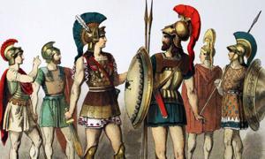 Portada - Guerreros de la antigua Grecia con sus armas y armaduras. Fuente: Dominio público