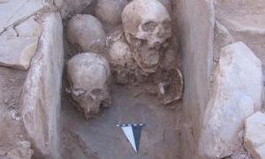 Portada-Conjunto de cráneos descubiertos enterrados en una cista de piedra hallada en el interior de una vivienda prehistórica de Shkārat Msaied, Jordania. Fotografía: Moritz Kinsel, Proyecto Neolítico Shkārat Msaied , Universidad de Copenhague.