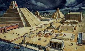Portada - Dibujo del posible aspecto de la antigua ciudad de Tenochtitlán (en la actual Ciudad de México), situación del templo y la cancha de pelota basadas en las crónicas españolas de la época de la conquista. (Dominio público)
