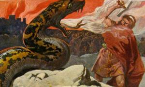 Portada - Thor y la serpiente de Midgard, pintura de Emil Doepler. (Public Domain)