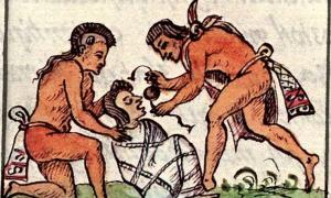 Portada - Preparación de un cadáver. Códice Florentino, Libro 3 (Mexicolore)