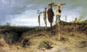 Portada - Lugar de ejecución en la antigua Roma. 'Los esclavos crucificados'. Fedor Andreevich Bronnikov, 1878. Fuente: Dominio público
