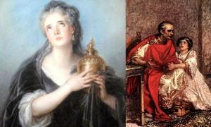 Portada - Dos de las esposas de Julio César: Cornelia (CC BY SA 3.0)y Calpurnia (con César).(Early Church History)