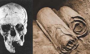 Portada - Cráneo descubierto en Qumrán. (Archaeology-of-Qumran/CC BY SA 3.0) Dos de los manuscritos de los Rollos del mar Muerto yacen en su ubicación en las cuevas de Qumrán antes de ser retirados por los arqueólogos para su examen académico. (Dominio público)