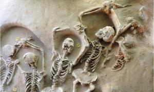 Portada-Algunos de los esqueletos encadenados descubiertos en una fosa común cercana a Atenas. Fotografía: Ministerio de Cultura de Grecia