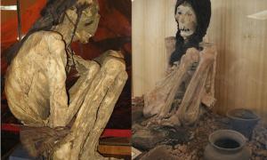 Portada - Momia hallada en el desierto de Atacama (Eigenes Werk / Anagoria/CC BY 3.0.de) y momia expuesta en el Museo Le Paige de San Pedro de Atacama, Chile. (Patagonia SouthernLand Expeditions)