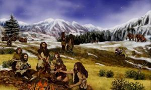 Portada-Representación artística de una familia Neandertal. (Public Domain)