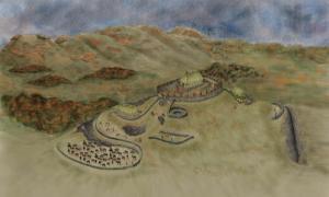 Portada - Recreación artística de Trusty's Hill, erróneamente considerado un asentamiento picto hasta ahora y tras la reciente investigación probable emplazamiento de la fortaleza real del reino britano perdido de Rheged, datado en torno al año 600 d. C. (DGNHAS / GUARD Archaeology Ltd)