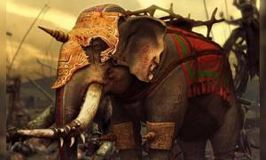 Portada - Imagen representativa de un elefante de guerra. La fortaleza recientemente descubierta en Berenike protegía un puerto que suministraba elefantes de guerra. Fuente: CC BY SA