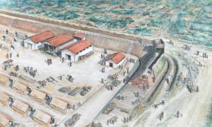 Portada - Recreación artística de la fortaleza de Plantation Place hallada recientemente en Londres. (MOLA)