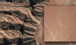 Portada - Fondo, paisaje arenoso de Quilcapampa, Perú (Google Maps, 2016). Detalle, uno de los misteriosos geoglifos descubiertos recientemente (Justin Jennings)