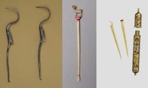 Portada - Palillo de dientes de plata, Gran Bretaña romana. (Museo Británico) Palillo de marfil hallado en la India. (Museo Británico) Estuche de oro con palillos para la limpieza de dientes y oídos. (Museo Británico)