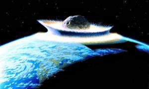 Portada-Recreación artística del choque de un meteorito contra La Tierra. (Don Davis/Public Domain)