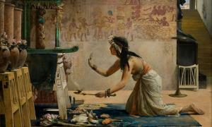 Portada - Sacerdotisa realizando una ceremonia. 'Exequias de un gato egipcio', óleo de John Reinhard Weguelin. (Public Domain)
