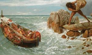 Portada - 'Odiseo y Polifemo', óleo de Arnold Böcklin (1896). Polifemo es uno de los pocos Cíclopes cuyo nombre conocemos. (Public Domain)