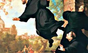 """Portada - Detalle del óleo """"San José de Cupertino se eleva en vuelo a la vista de la Basílica de Loreto"""", obra del pintor Ludovico Mazzanti (1686-1775). Iglesia de San José de Cupertino. Osimo, Italia."""