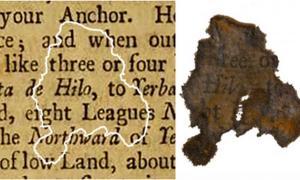 Portada - Fragmento de papel descubierto en el buque insignia de Barbanegra, el Queen Anne's Revenge, comparado con la página del libro al que se ha descubierto que pertenece. Fotografía: Departamento de Recursos Naturales y Culturales de Carolina del Norte.