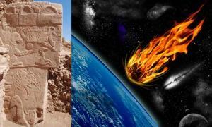 Portada - 'Piedra del Buitre' de Göbekli Tepe. (Alistair Coombs) Representación artística de un cometa o meteorito dirigiéndose hacia la Tierra. (Public Domain)