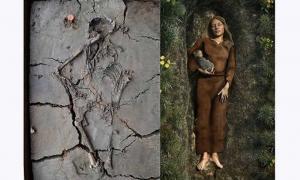 Portada - Izquierda, los restos del bebé fueron descubiertos ocultos bajo el brazo de una mujer en una tumba de Nieuwegein, Países Bajos. Derecha, impresión artística del entierro de la mujer y el niño. Fuente: Gemeente Nieuwegein
