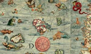 Portada - Detalle de la Carta Marina de Escandinavia creada por Oleo Magno en 1539. Biblioteca Estatal de Munich, Alemania. (Public Domain)