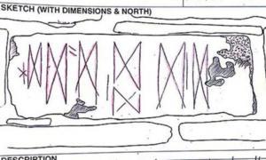 Portada - Apunte de las marcas halladas en un bloque de piedra de las islas Orcadas (Escocia). (Dibujo cedido por la Universidad de las Highlands y las Islas)