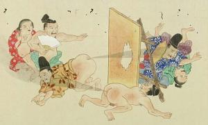 Portada - Detalle del Rollo He-Gassen. Batalla de pedos, 1864 (dominio público)