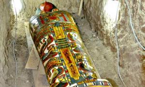 Portada - Fotografía del cartonaje de la momia, adornado con elementos religiosos como símbolos solares, la cobra, las diosas protectoras Isis y Neftis con las alas desplegadas y los hijos de Horus, que custodiaban las vísceras del difunto. (Fotografía: ABC/Thutmose III Project)