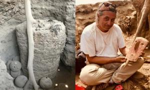 Portada - momia de Pachacámac / Peter Eeckhout con máscara funeraria pre-inca. Fuente: ULB P. Eeckhout
